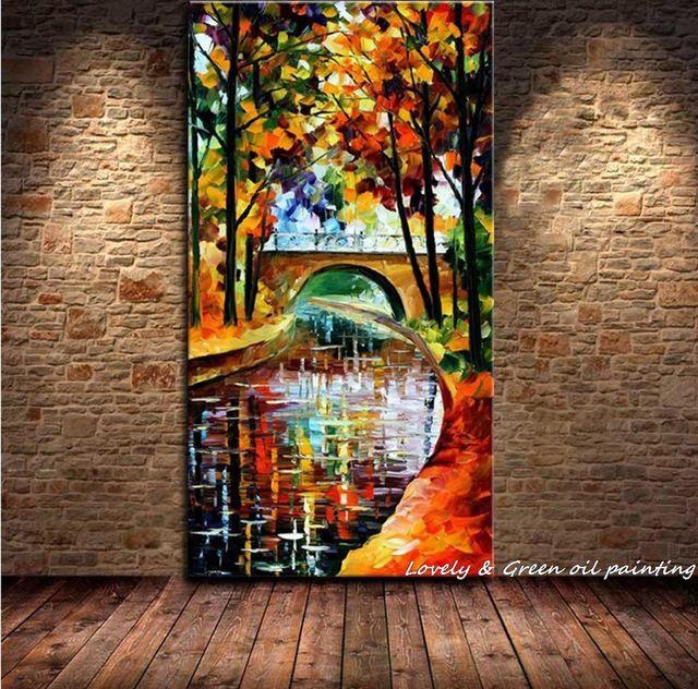 Moderna grande Pintura Al Óleo 100% Pintura de la Mano del Agua Que Fluye árboles de Pequeño Puente Pintura Al Óleo Sobre Lienzo de Pared Pintura Casa decoración