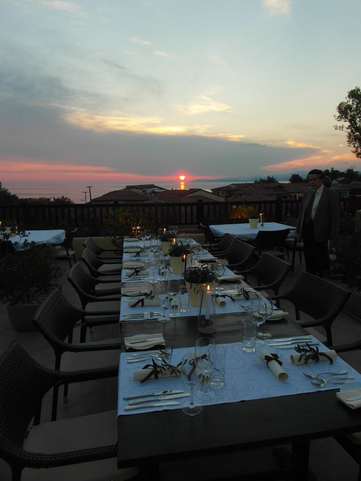 rooftop dinner at sunset at the Anthemus Sea Resort in the Halkidiki region of northern Greece