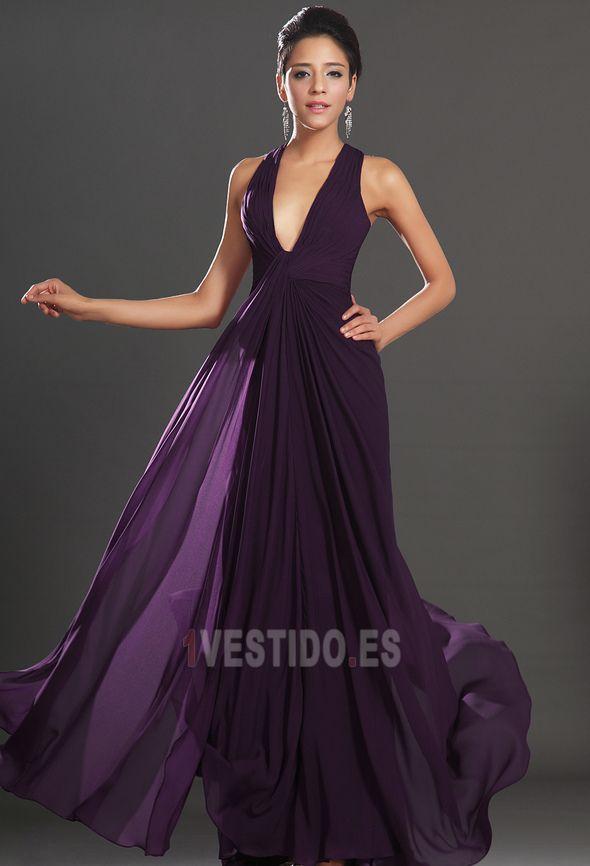 Vestido+de+noche+Imperio+Elegante+Sin+mangas+Gasa+Espalda+Descubierta