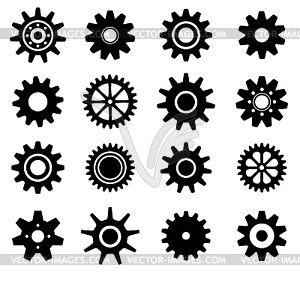 Зубчатые шестеренки установлены диски иконки - векторное изображение клипарта