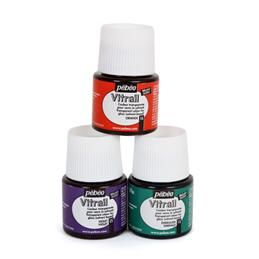 Pébéo Vitrail paint $ 5.79 a jar.  Use with polymer clay over foil or mica powders