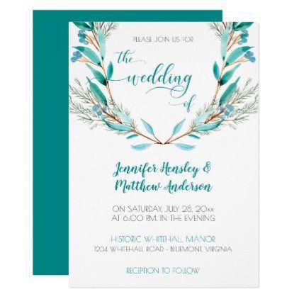 Teal Green Cypress Leaves Wreath Wedding Card - chic design idea diy elegant beautiful stylish modern exclusive trendy