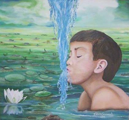 Título:  El chico de la laguna Año:  2012 Técnica: Óleo 53 X 49 cm