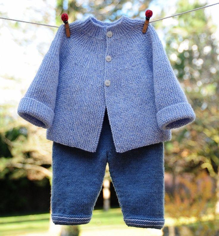 layette ensemble 3 mois neuf tricoté main brassière et pantalon : Mode Bébé par com3pom