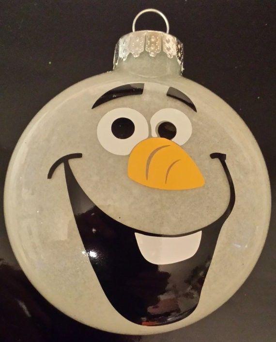 2014 Christmas Frozen Olaf handmade glass hanging ornament glittered inside - floating ornament