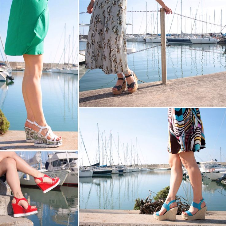 Per passeggiate lungo il porto, da giorno o da  sera,  dai modelli in tinta unita a quelli più divertenti , le scarpe con la zeppa non passano mai di moda.  #sandali #zeppa