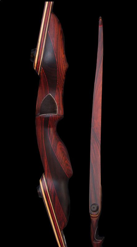 """15"""" Cocobolo/India Rosewood Wave Riser Limbs are Cocobolo Veneered Bamboo Core Tips are Cocobolo 64"""" 3 PC Takedown Longbow #53 @ 28 RH $800.00"""