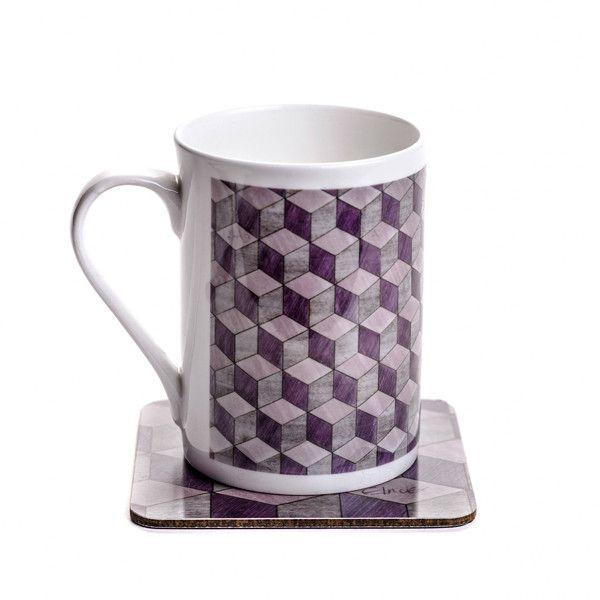 China Mug coaster set mauve lavender grey bone china mug gift set... ($18) ❤ liked on Polyvore featuring home, kitchen & dining, drinkware, coloured mugs, bone china, square mug, grey mug set and grey mugs