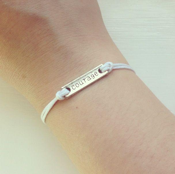 White Wax Cord Courage Bracelet