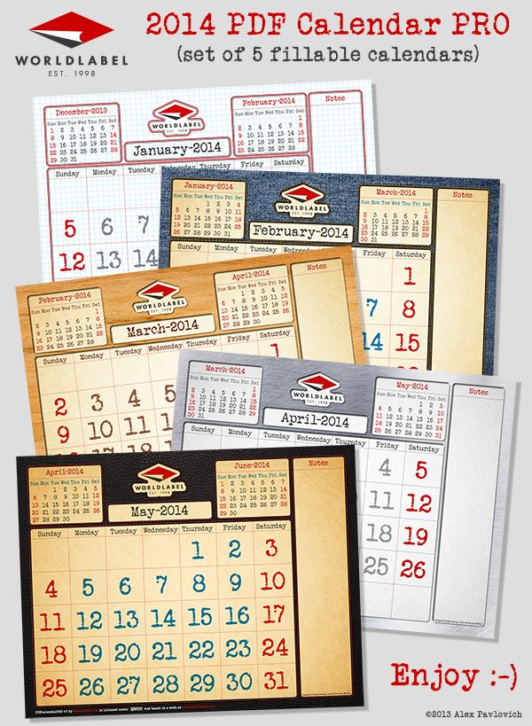 FREE CALENDAR: 2014 PDF PRO fillable and editable calendar in 5 themes.. :)