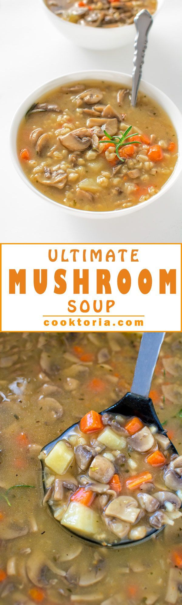 Hearty and comforting, healthy and low-calorie - this vegetarian Ultimate Mushroom Soup recipe is the only one you'll ever need! ❤ COOKTORIA.COM