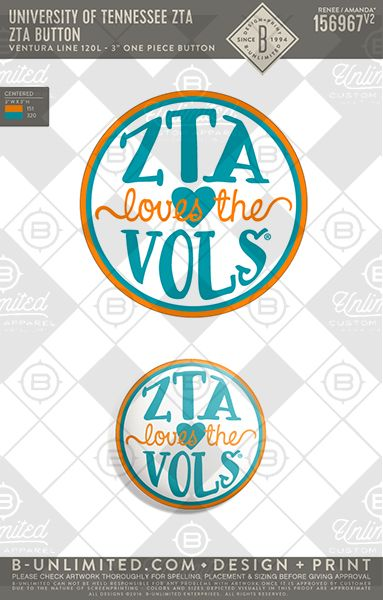 ZTA Loves the VOLS! Tennessee ZTA #BUonYOU #greek #greektshirts #greekshirts #sorority #buttons #gamedaybutton #zta #zeta #zetataualpha #football