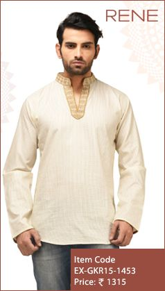 #Exclusive #EthnicWear #Design #Traditional #Trendy #Kurta #Men #White #Ootd #Outfit #Fashion #Style #ReneIndia #Brand available on #Flipkart #Snapdeal #paytm