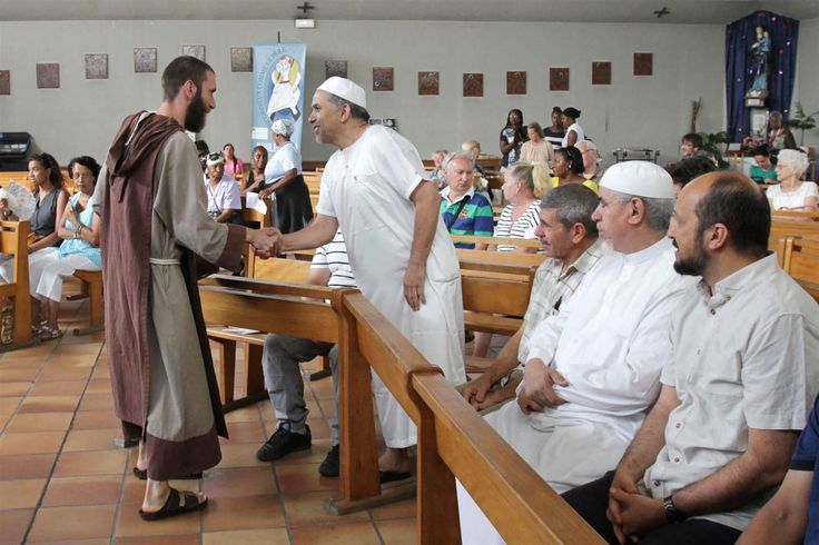 """7/31/16-A Catholic monk welcomes Muslim worshipers in Saint-Pierre-de-lAriane Church before a mass Sunday in Nice, France. I may not embrace full on ecumenical-ism, but I know what the direct injunction of """"all men"""" means as it frequently pops up in St. Paul's writings. Any one who is righteous is of God (as St. John wrote), and these men are all demonstrating God-given righteousness to forgive and abide with each other."""