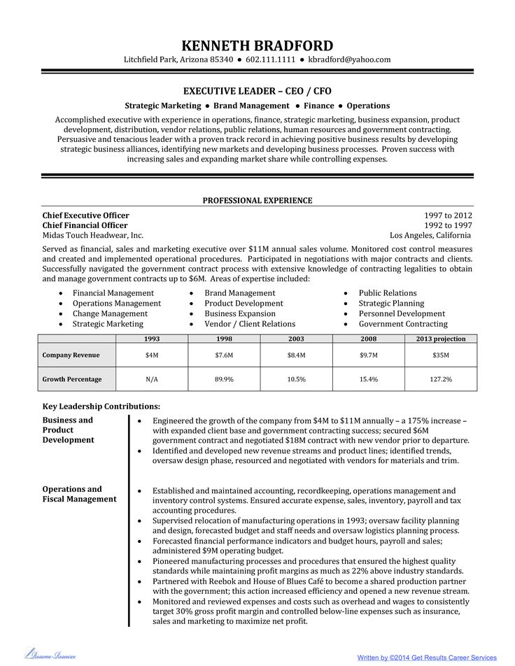 High Level Executive Resume Example - Business Resumes