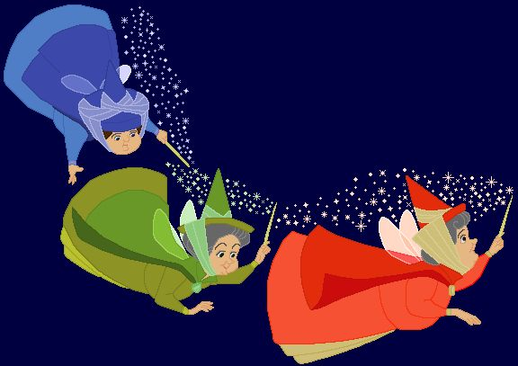 flora, fauna and merryweather (sleeping beauty's fairy godmother's)