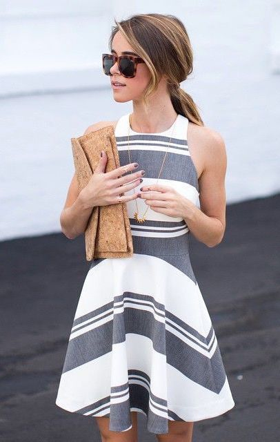 A mix of thin and bold stripes on a fit and flare are flattering and feminine.