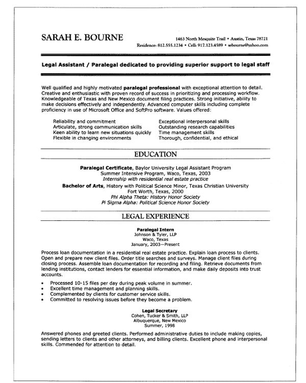 10 best Resume Samples for Job images on Pinterest Resume, Entry - real estate paralegal resume