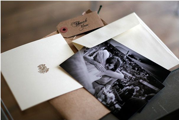 adorable thank you note idea...have the photographer take pictures while you receive gifts from your guests...then send them the photo in your thank you note.  very personalized.