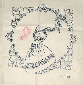 Vintage-Deighton-embroidery-transfer-Crinoline-Lady-picking-flower-small-panel