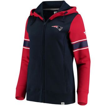 Women's New England Patriots NFL Pro Line by Fanatics Branded Navy/Red Iconic Fleece Full-Zip Hoodie