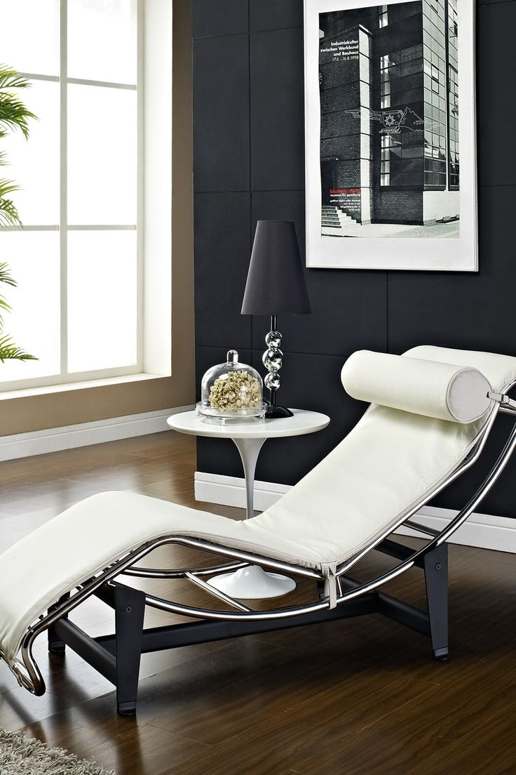 Le Corbusier LC4 Genuine Leather Lounge Chair - White