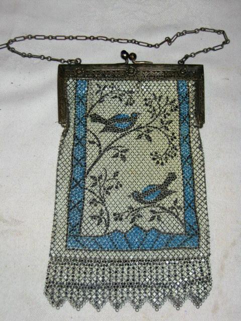 Mandalian mesh purse, blue birds, early 1920s
