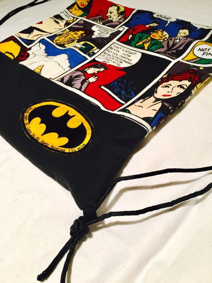 Batman Comic Rucksack, Upcyling, Comic Stoff & Jeans & Kordel, Beutel, DIY in Münster, handmade by marinamia
