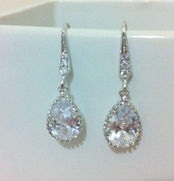 Tear Drop Earrings Earrings Wedding Jewelry Bridal by RBJohnson,