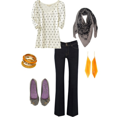 My first Polyvore set creation! So fun. Gray with a pop of orange.Sets Creations, Style Inspiration, Polyvore Sets, Pinterest Closets
