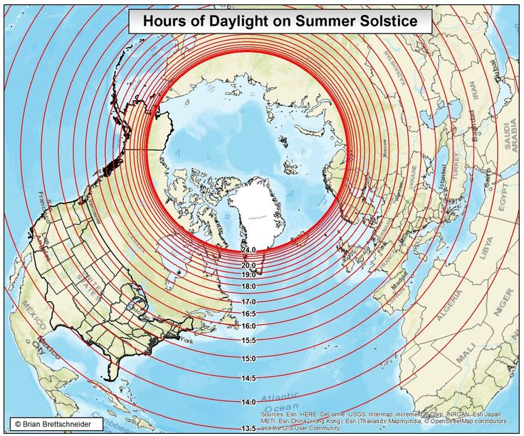 Hours of Daylight on the Summer Solstice in the Northern Hemisphere