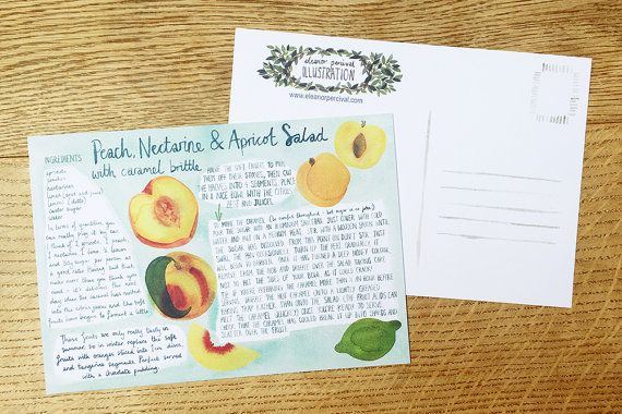 A5 (14.85 cm x 21 cm) illustrated recipe card for Peach, Nectarine and Apricot Salad with Caramel Brittle Matt finish on thick card stock Postcard back