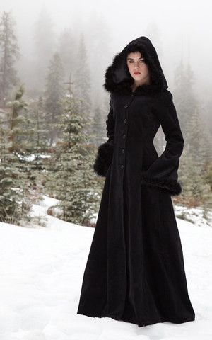 Anastasia Coat - Long velvet, fur trimmed coat. Gothic, Bohemian – The Dark Angel