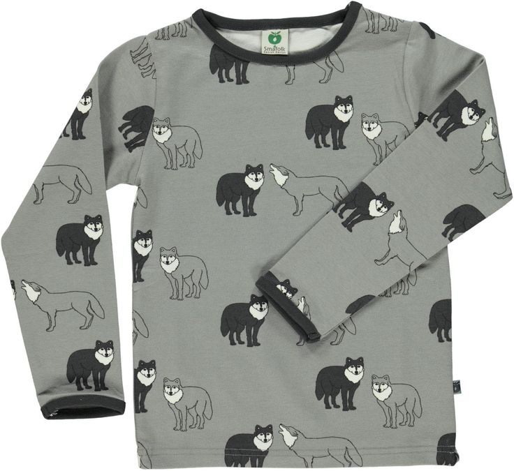 Wolf Long Sleeve Shirt in Grey by Smafolk. Available at Modern Rascals.