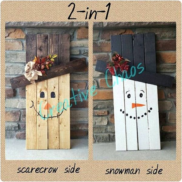 How about this reversible snowman and scarecrow that you could display on other days.