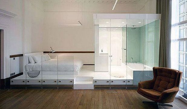 70 best images about an open concept bathroom freaky or for Open plan bedroom bathroom ideas