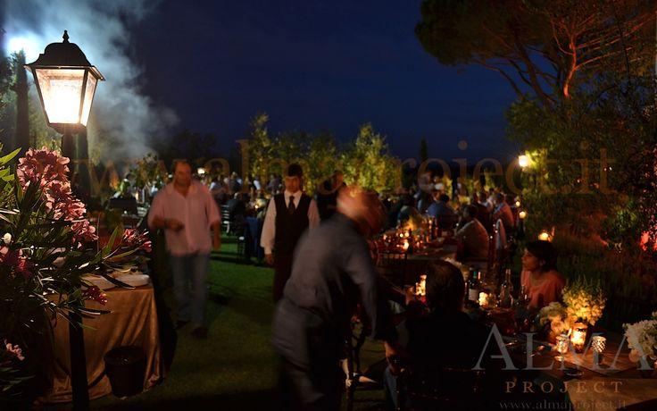 ALMA PROJECT @ Private villa Marliano - street lamp lamps lampione dinner trees