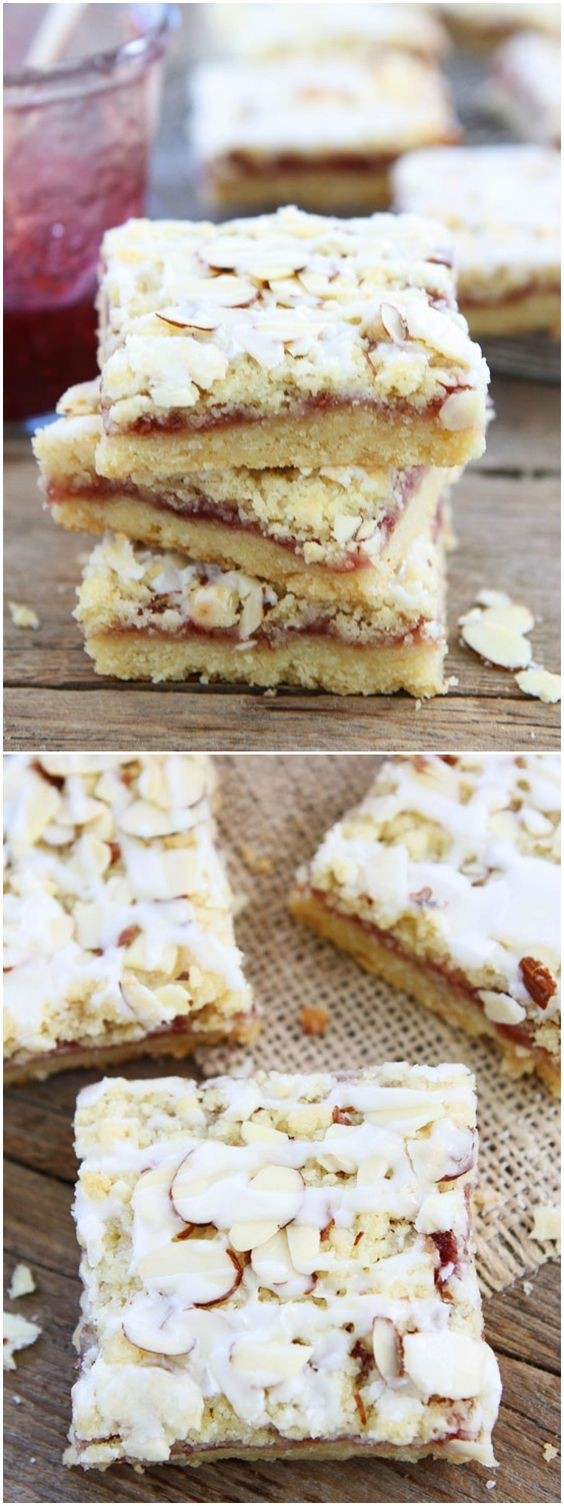 Raspberry Almond Shortbread Bars Recipe on twopeasandtheirpod.com Buttery shortbread bars topped with raspberry jam, almond streusel, and a sweet almond glaze. These bars are amazing!