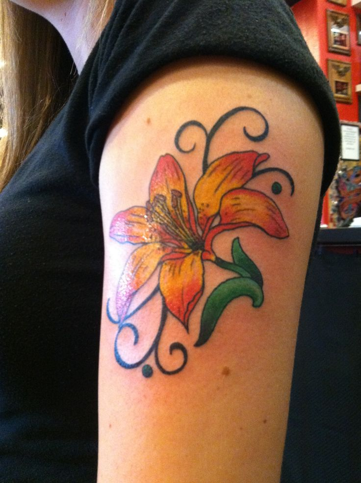 flower orange tiger inked up
