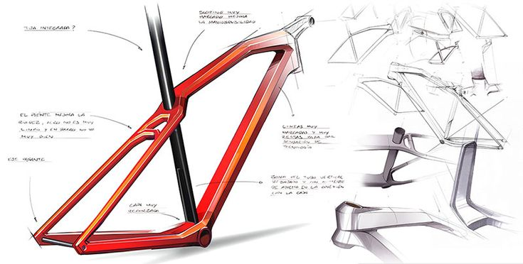 Bike frame sketches by Cero Design. See additional sketches and renderings at http://bicycledesign.net/2015/02/bike-designs-by-cero/