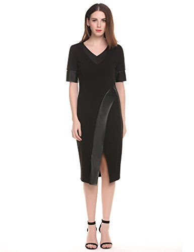 ACEVOG Women's Elegent Pu Office Business Sheath Bodycon Party Pencil Dress(Black L) - Brand: ACEVOG ACEVOG is our registered popular clothing brand in US & Europe marketProvide The Best Product and Customer services on AmazonTo let customers trust our brand and be willing to buy from us again and againcustomer satisfaction is our pursuit! Feel free to direct contact us with any co...