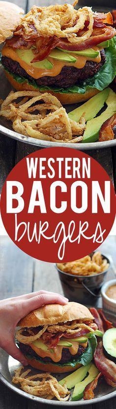 Western Bacon Burgers with BBQ Mayo + Onion Strings | Creme de la Crumb