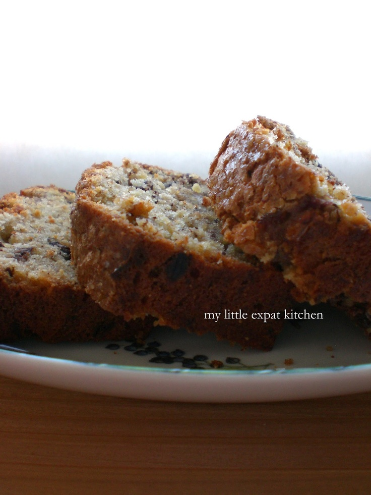 Banana Cake with Ground Hazelnuts and Milk Chocolate Chunks from My Little Expat Kitchen