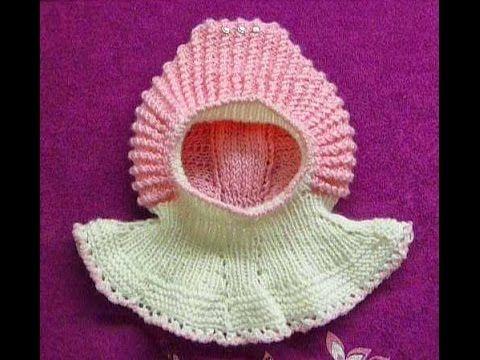 1-Шапочка-шлем спицами на ребенка около года и более