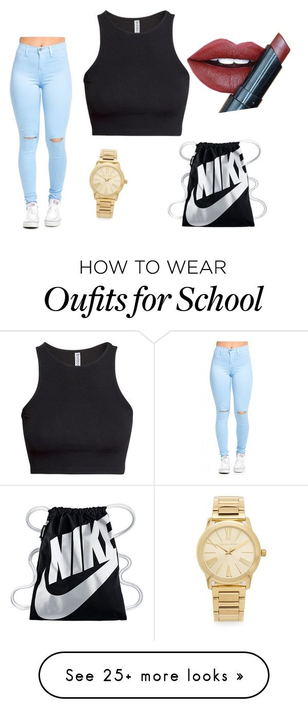 """""""Sunny School day"""" by laura-jane-dyck on Polyvore featuring H&M, Michael Kors, Fiebiger and NIKE"""
