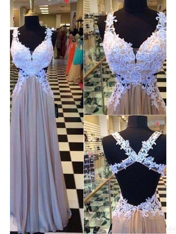 V-neck Applique Backless Long Chiffon Prom Dress Evening Dresses #SIMIBridal #promdresses