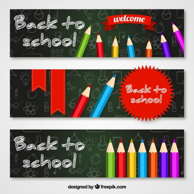 Free vector Welcome back to school banners pack #16503