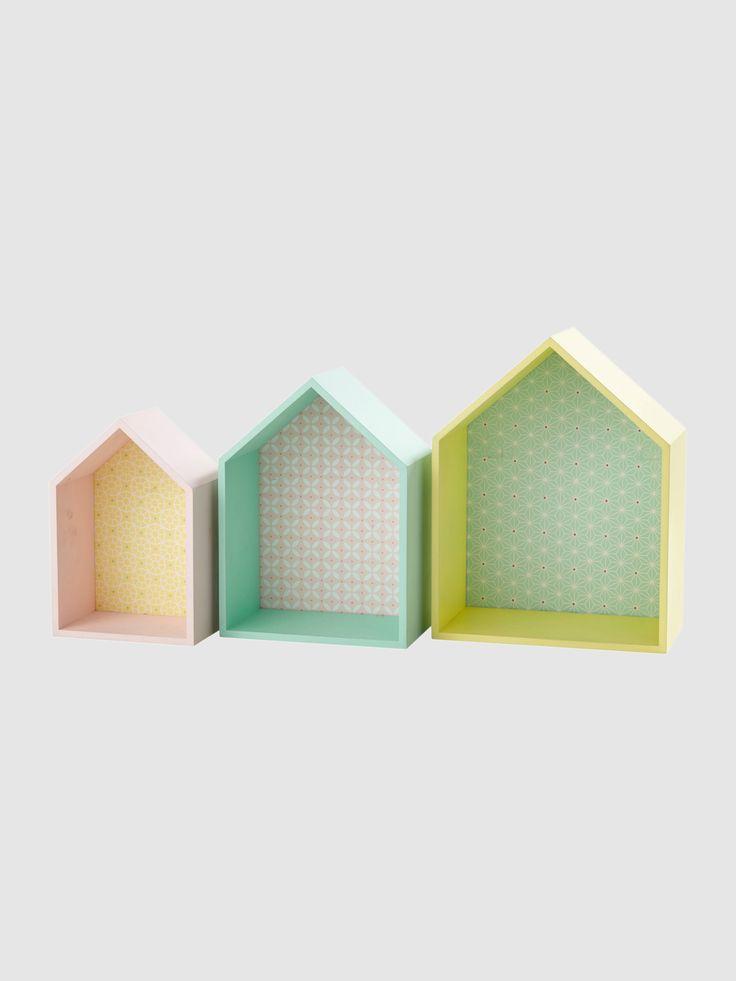 3er-Set Wandregale in Hausform, 28.5x37x16cm / 64.90