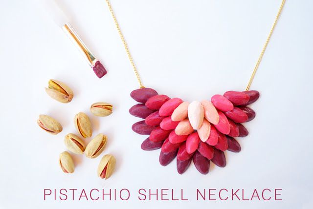 DIY: Ombrè Necklace From Pistachio Shells