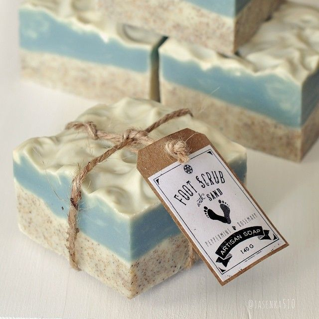 Foot Scrub Sand Soap - peppermint & rosemary essential oil blend ♡